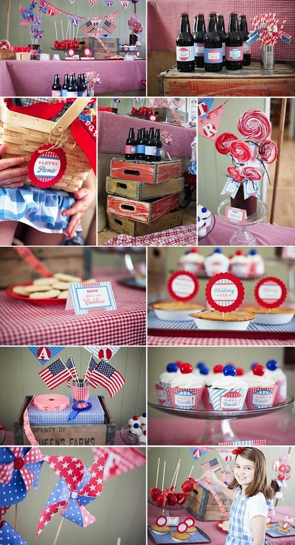 Vintage 4th of July or Memorial Day Picnic Party FULL of ideas! PRINTABLES, too! Via KAras Party Ideas KArasPartyIdeas.com