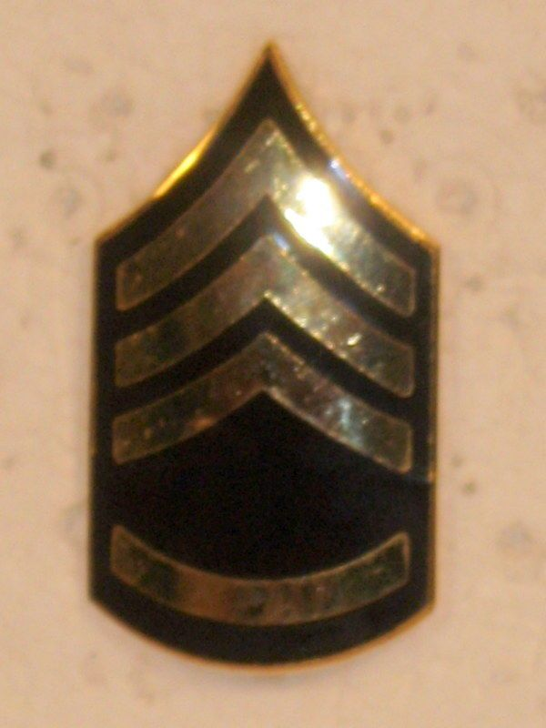 US ARMY STAFF SERGEANT SSGT E-6 SHINY RANK INSIGNIA FOR HAT CAP OBSOLETE