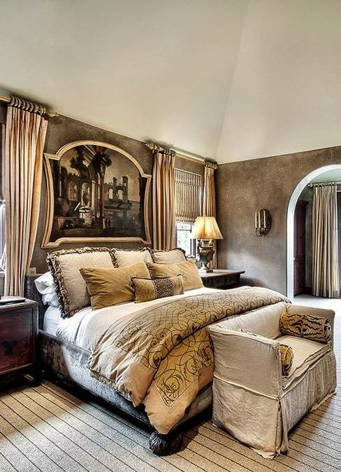 .Like the idea of framing door to bath on with curtains and faux window on other side of bed