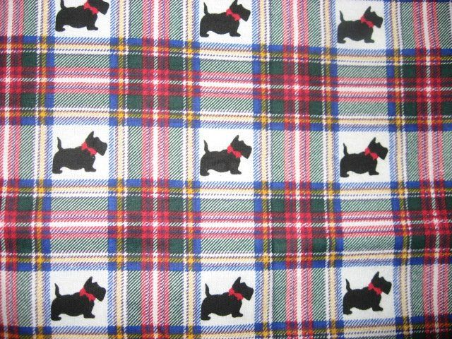 Scottie Dogs with red bows Plaid Flannel baby blanket