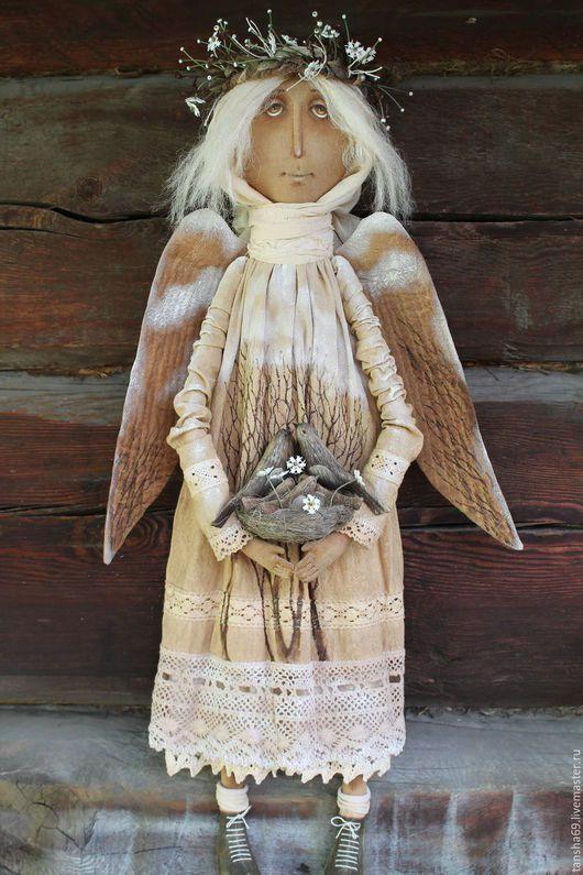 Коллекционные куклы ручной работы. Ярмарка Мастеров - ручная работа. Купить Обережный.... Handmade. Бежевый, ангел, краски акриловые