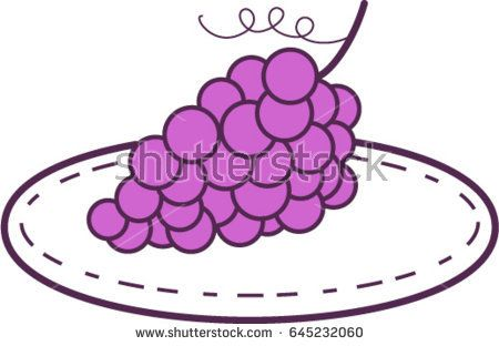 Mono line style illustration of a bunch of grapes on a plate set on isolated white background.   #grapes #monoline #illustration
