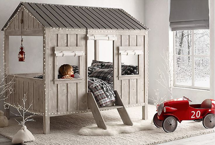 Kids Cabin Bed by Restoration Hardware Baby & Child is a dream come true. What kid wouldn't want this spectacular fort-like cabin in their room? And they can sleep in it ...