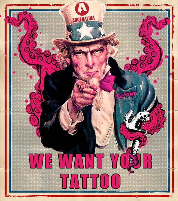 """Konkurs """"We want Your Tattoo"""" !!!  Masz na swoim ciele tatuaż który nawiązuje do sportów ekstremalnych albo do firm które sprzedawane są w sklepach Adrenalina?  Chcemy go zobaczyć!!!!!    Zasady konkursu:  1)Wyślij fotę ze SWOJĄ dziarą na adres sklep@adrenalina.info.pl   2) Zalajkuj plakat konkursu oraz nasze fb www.facebook.com/adrenalinasklep i http://www.facebook.com/PinkMachineTattoo  i GOTOWE    Zdjęcia można przysyłać do 17.03.2013 (godz.:23.59)"""