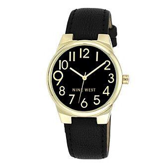 Nine West® Goldtone Black Strap Watch