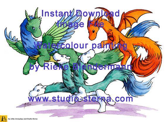 Drache Hydra Datei Download Aquarell Zeichnung Malerei Fantasy Deko Design Karte niedlich bunt Fell Fantasie Tiere Freunde grün blau orange