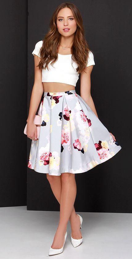 Keepsake Divide Light Grey Floral Print Midi Skirt from LuLu*s