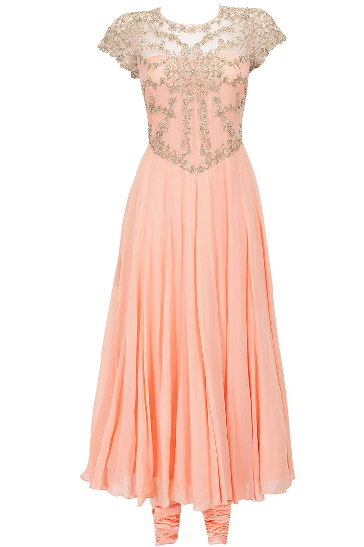 Peach hand embroidered net bodice anarkali set available only at Pernia's Pop-Up Shop.