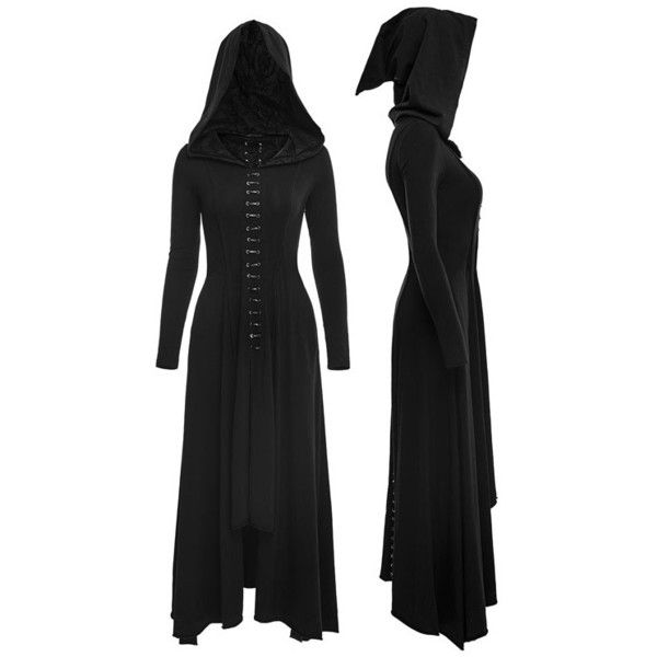 Bagira Black Gothic Coat-Dress by Punk Rave (140 AUD) ❤ liked on Polyvore featuring dresses, gothic lolita dress, gothic clothing dresses, punk rock dresses, goth punk dress and goth dress