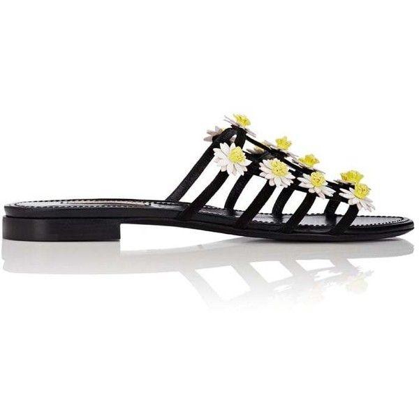Fabrizio Viti Women's Daisy-Appliquéd Suede Caged Slide Sandals (€760) ❤ liked on Polyvore featuring shoes, sandals, black, black flats, black flat shoes, black slide sandals, flats sandals and black suede flats
