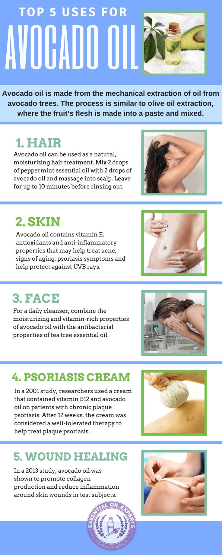 The top avocado oil uses including how to use avocado oil for skin treatments.