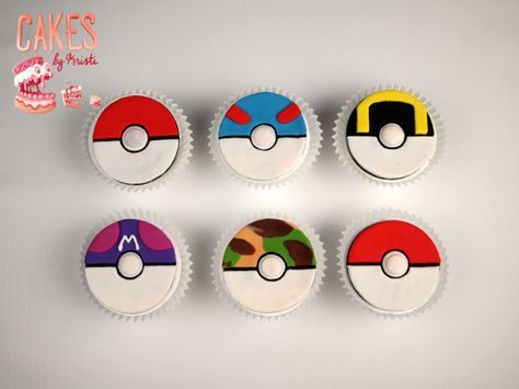 Pokeball Fondant Cupcake Toppers: Set of 6 (MADE TO ORDER)