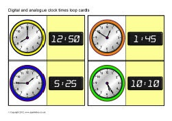 Digital and analogue clock times loop cards (SB8535) - SparkleBox