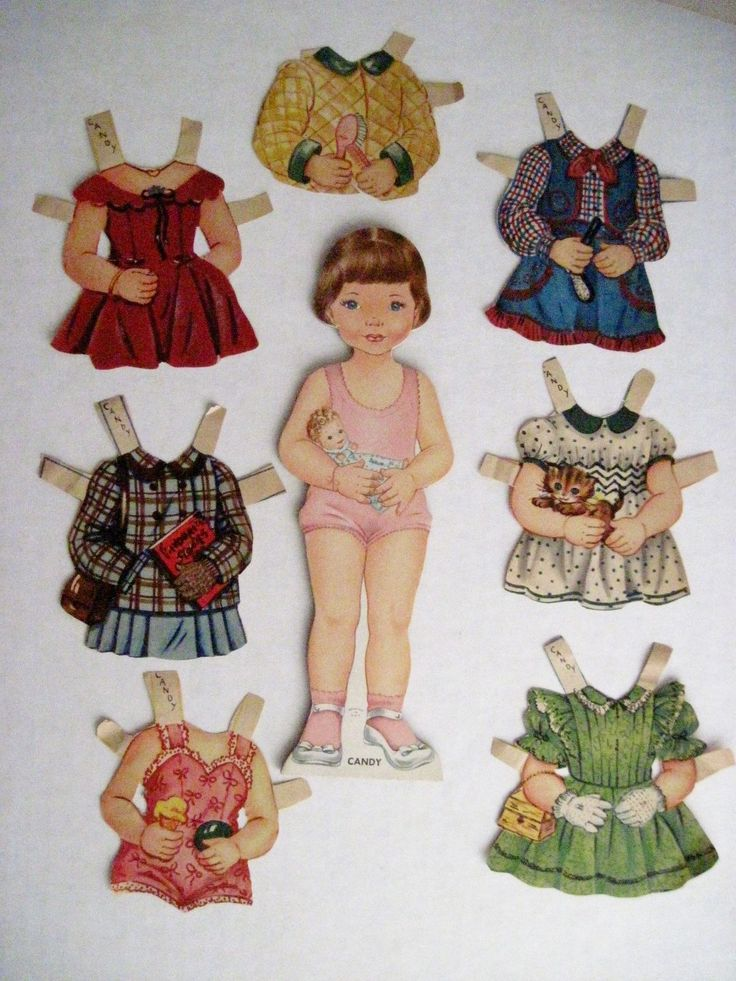 "Vintage 1950's Paper Dolls ""Mandy Sandy Candy"" w Adorable Clothes Dolls 