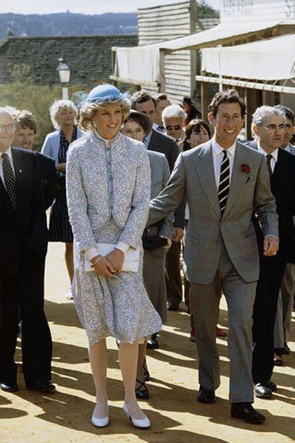 15 Apr 1983, Ballarat, Australia --- Princess Diana and Prince Charles visit Sovereign Hill Historical Park during a tour of Australia. --- Image by © Tim Graham/CORBIS