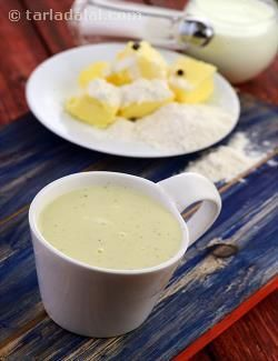 A basic white sauce recipe made with plain flour, milk and butter. Made in a microwave oven.