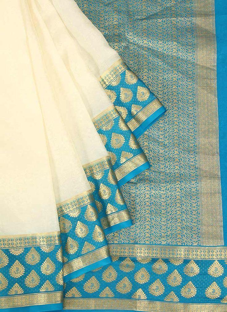 White Pure Mysore Silk Saree                                                                                                                                                                                 More