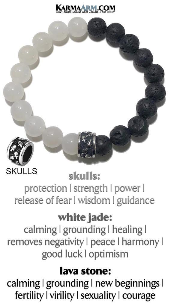 Blue Jade Healing Stack Gemstone Spiritual Bead Bracelet Yoga Mala Mens