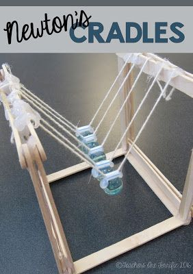 STEM Challenge: Prove Newton's 3rd Law of Motion by building a Newton's Cradle. Only a few supplies and start clacking away!
