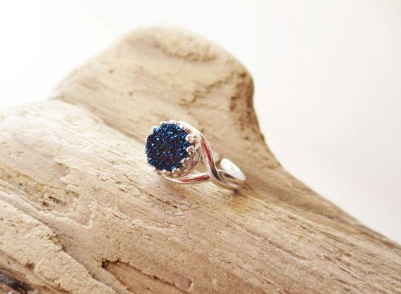 Midnight blue druzy ring. Titanium druzy ring. by LittleBearsMom