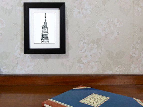 'Jubilee Clock' historic clock note card by AnnaCullArt