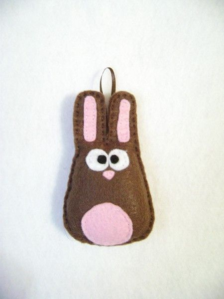 Felt Holiday Ornament  Nelly the Brown Bunny  by RedMarionette for little T's tree $10.50