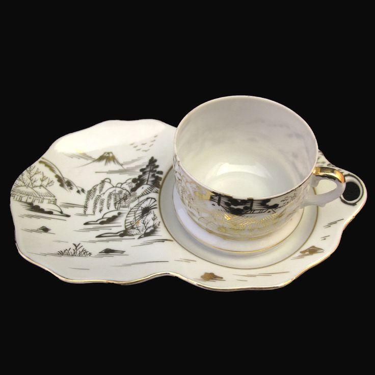 Vintage hand painted kutani kut313? teacup and snack plate mt fuji village & 108 best Vintage Snack Plate Sets images on Pinterest | Plate sets ...