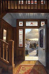 """Doorway"" , 1985 Painted by Peter Siddell. A New Zealand suburban view from an older style home. Native timber was used as a feature in this era,"
