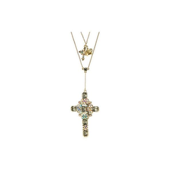 Butler Wilson Multi Crystal Cross Pendant 162cm Necklace ($63) ❤ liked on Polyvore featuring jewelry, necklaces, crystal jewellery, crystal stone jewelry, cross charm, crystal jewelry and crystal cross pendant necklace