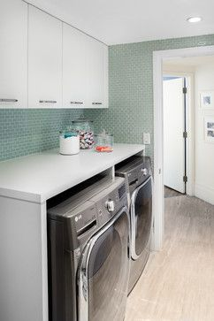 mini sage green glass tile in laundry room