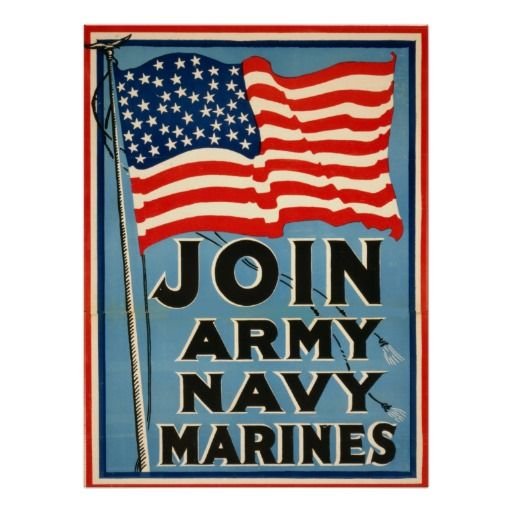 "Join Army, Navy, Marines WPA 1917 Posters $23.65 - #stanrail -  24""X32""  This is a Join The Armed Forces Recruitment poster for the Army, Navy, and Marines. It was used in 1917. For low-cost, long-lived posters, select Zazzle's Value Poster Paper. This very white paper creates vibrant art and photo reproductions.   #stanrails_store"