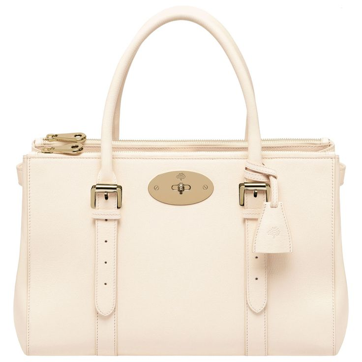 Mulberry - Bayswater Double Zip Tote in Off White Shiny Goat