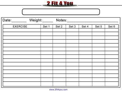 Weightlifting Log – Gym Workout Sheet