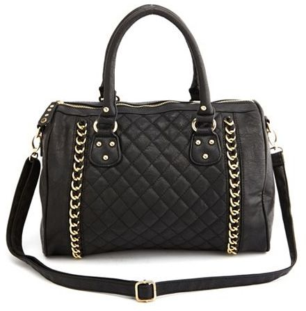 Charlotte Russe QUILTED DOUBLE CHAIN SATCHEL BAG.