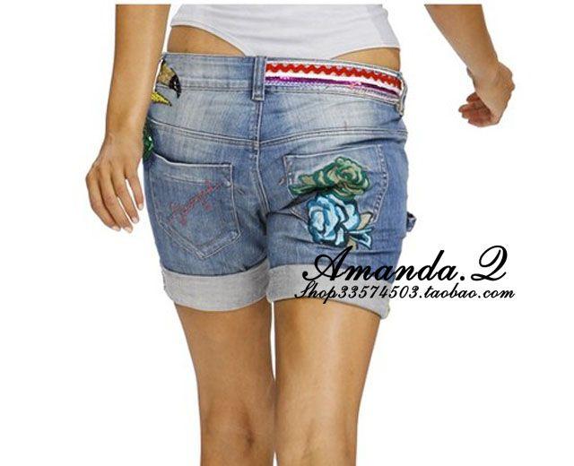 2012! Desigual paillette bordado rollo up retro dobladillo acabado de mezclilla pantalones cortos