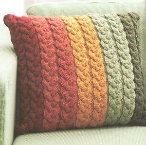 """Chunky Wool Cable Cushion Knitting Pattern 16"""" ~ Knit in Strips ! Great Pattern 
