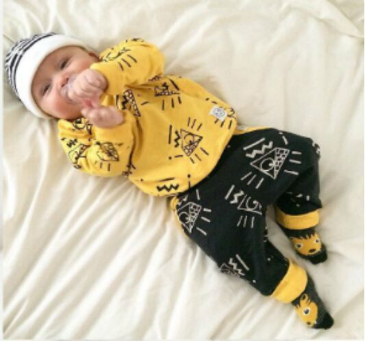 ST205  2016 newborn baby boy clothes baby clothes unisex yellow  color long-sleeved shirt+ pants 2 pcs. bebe girl clothing set