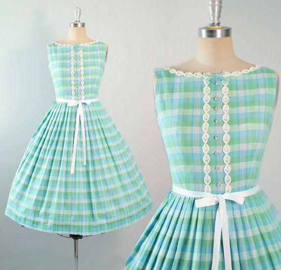 Vintage 50s Dress / 1950s Cotton SUNDRESS Blue by GeronimoVintage