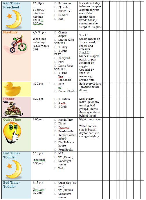 schedule for kids