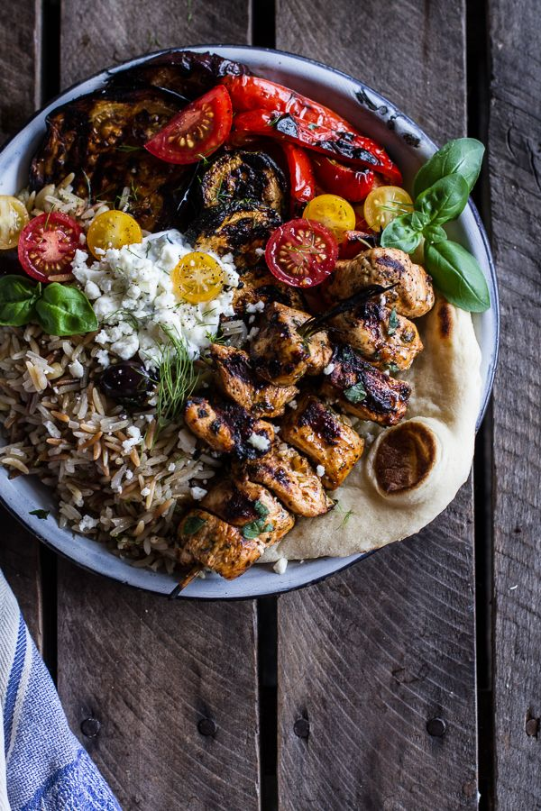 Greek Chicken Souvlaki and Rice Pilaf Plates w-Marinated Veggies + Feta Tzatziki by halfbakedharvest #Salad #Chicken #Rice #Feta #Veggies #Greek #Healthy