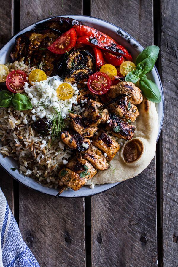 Greek Chicken Souvlaki and Rice Pilaf Plates w-Marinated Veggies + Feta Tzatziki
