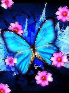 Fetching blue butterfly with beautiful pink flowers