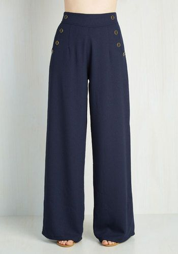 1930s 1940s Wide leg pants. Every Opportunity Pants in Navy $59.99 AT vintagedancer.com