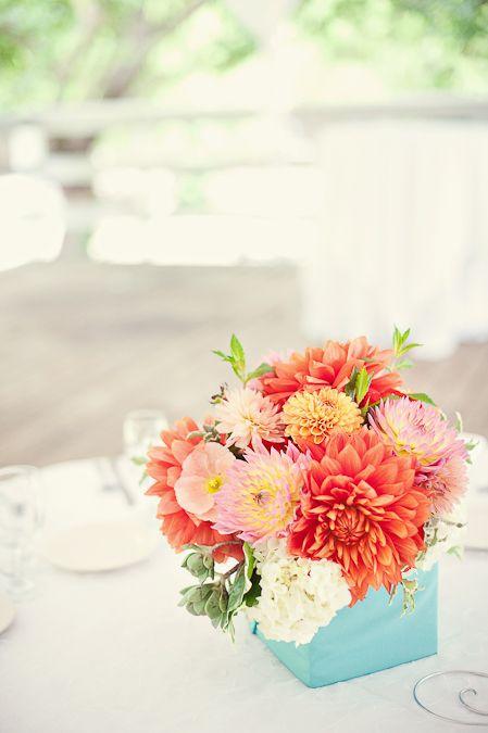 Tiffany blue with poppy, coral, and yellow // @Lela Baugh-Creighton