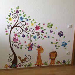 Wandtattoo Dschungel Wald Löwe Giraffe, Eichhörnchen Eule auf bunten Baum Wandsticker für Kinderzimmer Kindergarten Schlafzimmer