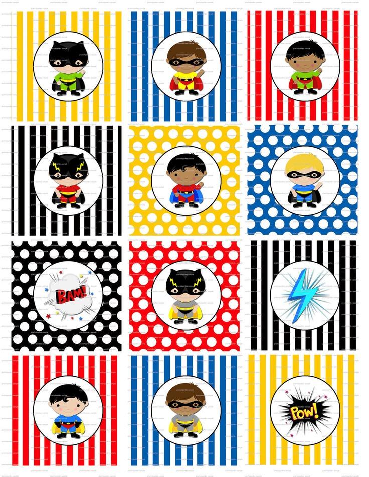 Superhero Super Hero Birthday Party Cupcake Toppers - Printable - Digital. $2.99, via Etsy.