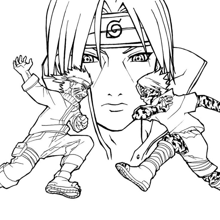 Coloriage Naruto Vs Sasuke a Imprimer Gratuit