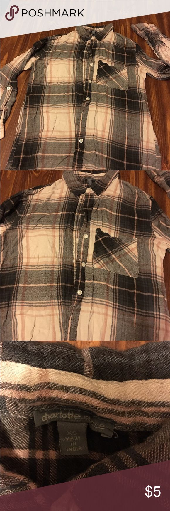❄️️✨Very soft and warm ladies flannel shirt✨❄️️ This is a sweet cozy shirt in pink and black tones. Wore twice and in great condition. Charlotte Russe Tops Button Down Shirts