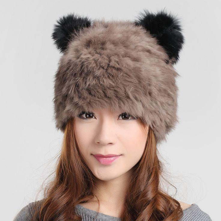 Мода кролик меховая шапка женская утепленная кожаная одежда Strawhat милый мультфильм кошачьи уши вязаная шапка вязаная шапка шифрования