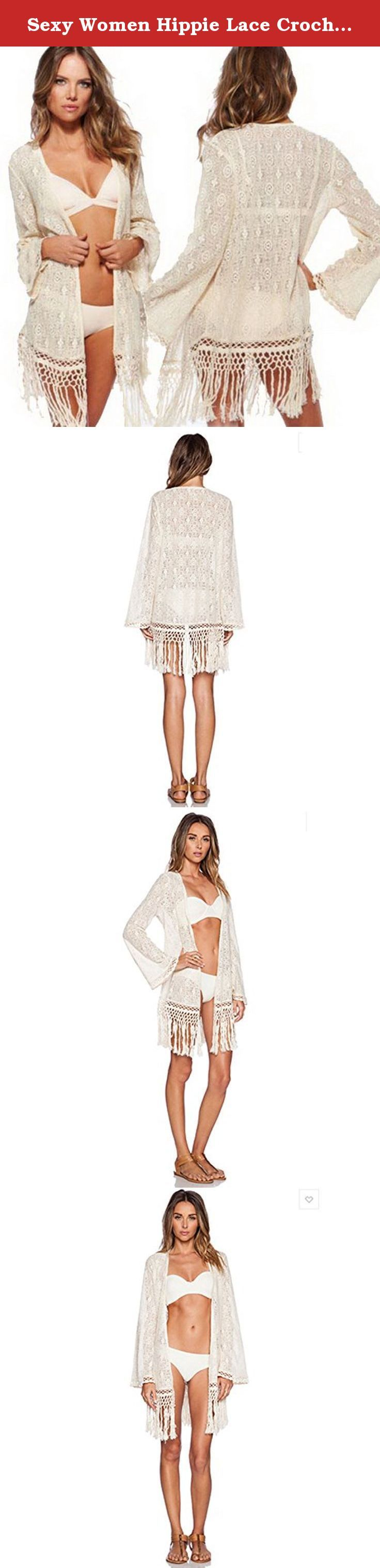 Sexy Women Hippie Lace Crochet Bikini Cover up Swimwear Beach Dress Tops Kaftan (One Size, white). Sexy Women Hippie Lace Crochet Bikini Cover up Swimwear Beach Dress Tops Kaftan Bust --90cm, length--59cm (excluding tassels), 81cm (with tassel) , sleeve --47cm 100% brand new and good quality, It is rather comfortable and sexy, Beautiful and high quality suit, padded cups Perfect to wear at the beach Brand: new without tags Fabric: 88% Polyamide + 12% Spandex, stretchy and comfortable…